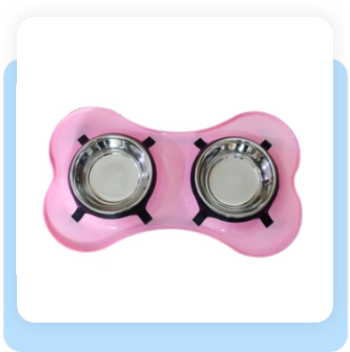 SPILL PROOF DOUBLE DINER BOWL – PINK – STAINLESS STEEL