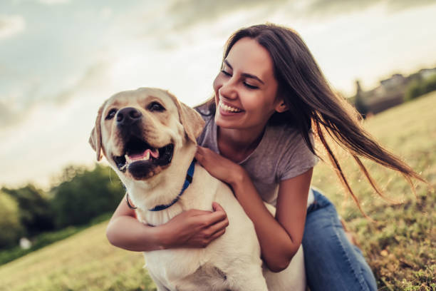 dog and happy owner